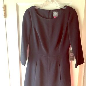 Vince Camuto navy dress 3/4 length sleeves 6 NWT